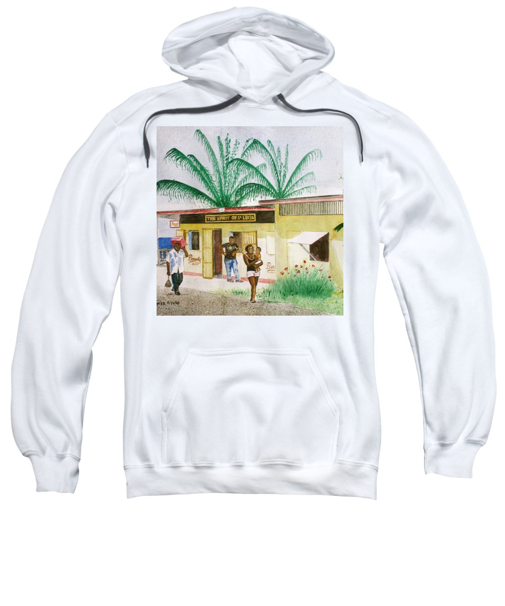 St Lucia Store Rum Man Woman With Baby Palm Trees Sweatshirt featuring the painting St. Lucia Store by Frank Hunter
