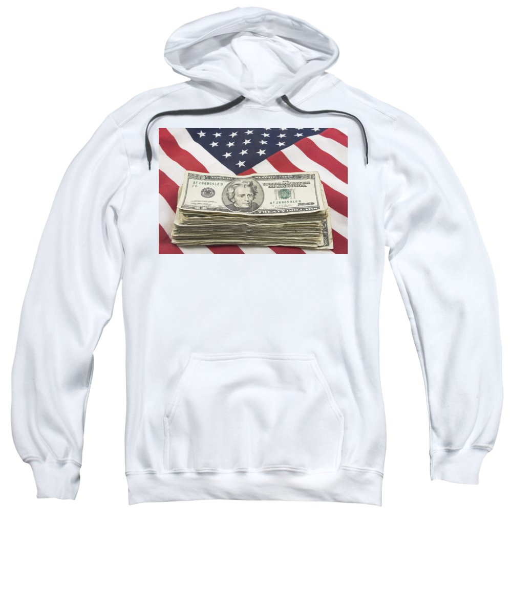 Flag Sweatshirt featuring the photograph Stack Of Money On American Flag by Keith Webber Jr