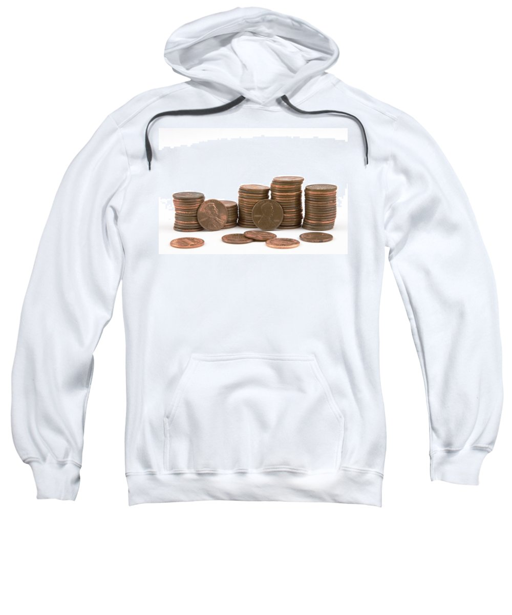 American Currancy Sweatshirt featuring the photograph Stacks Of American Pennies White Background by Keith Webber Jr
