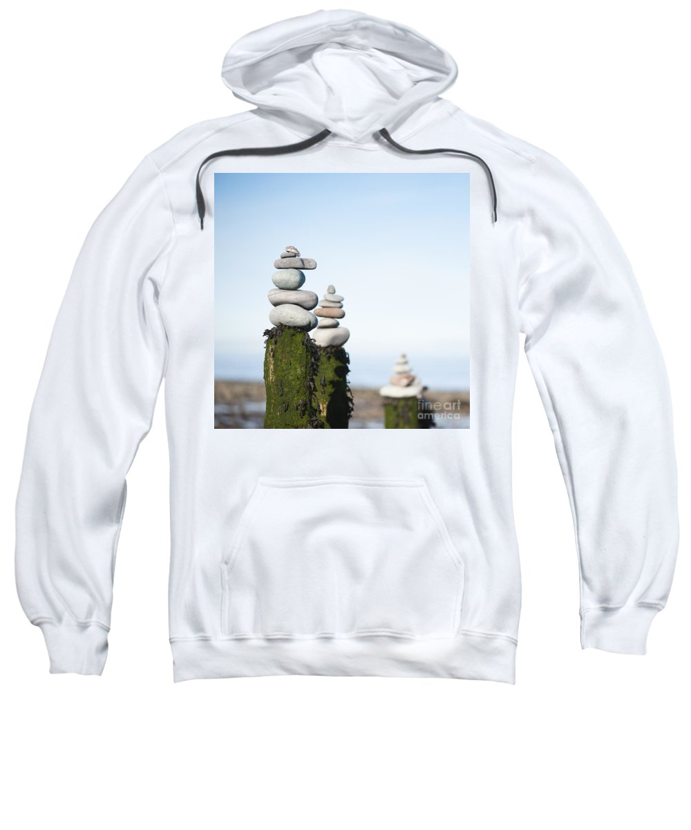 Anne Gilbert Sweatshirt featuring the photograph Stacks Squared by Anne Gilbert