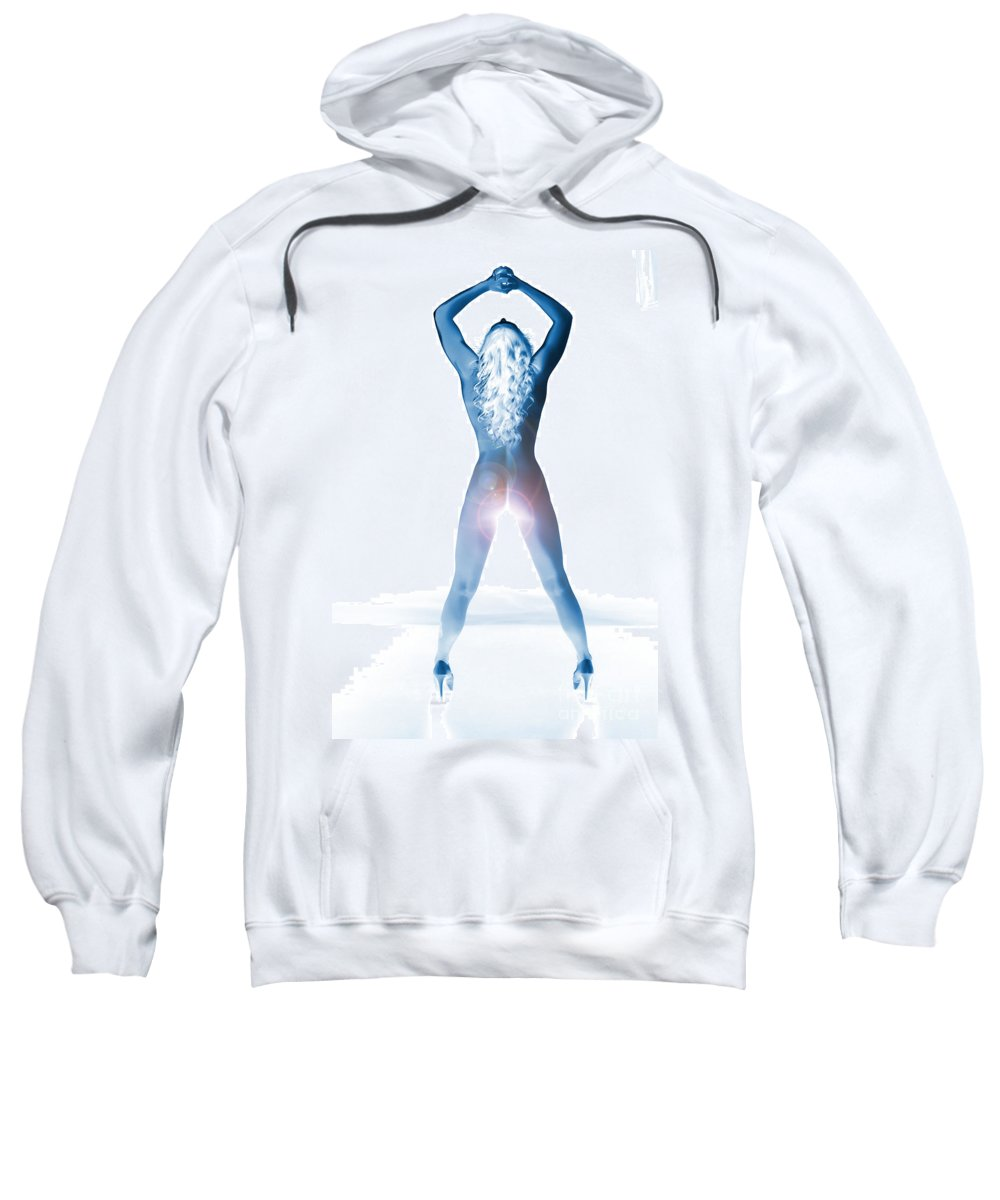 Amani Sweatshirt featuring the photograph Amani African American Nude Sensual Sexy Fine Art Print In Color 1203.03 by Kendree Miller