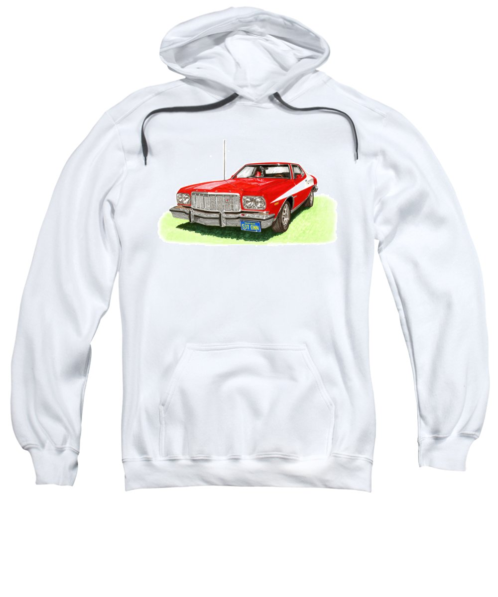 Movie Cars Sweatshirt featuring the painting Starsky Hutch 1974 Ford Gran Torino Sport by Jack Pumphrey