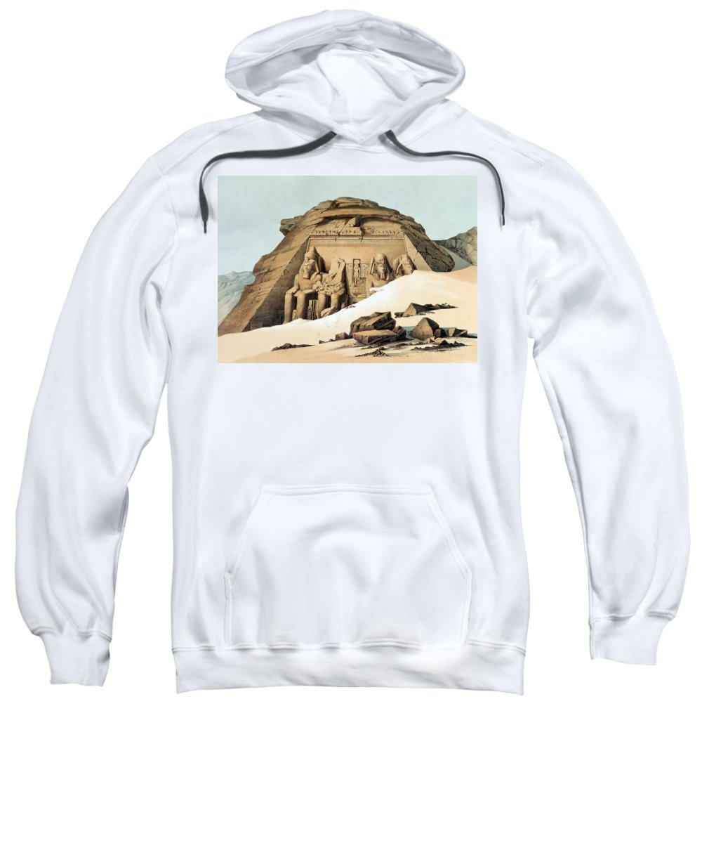 Statues Of Rameses Sweatshirt featuring the painting Statues Of Rameses by Karl Richard Lepsius