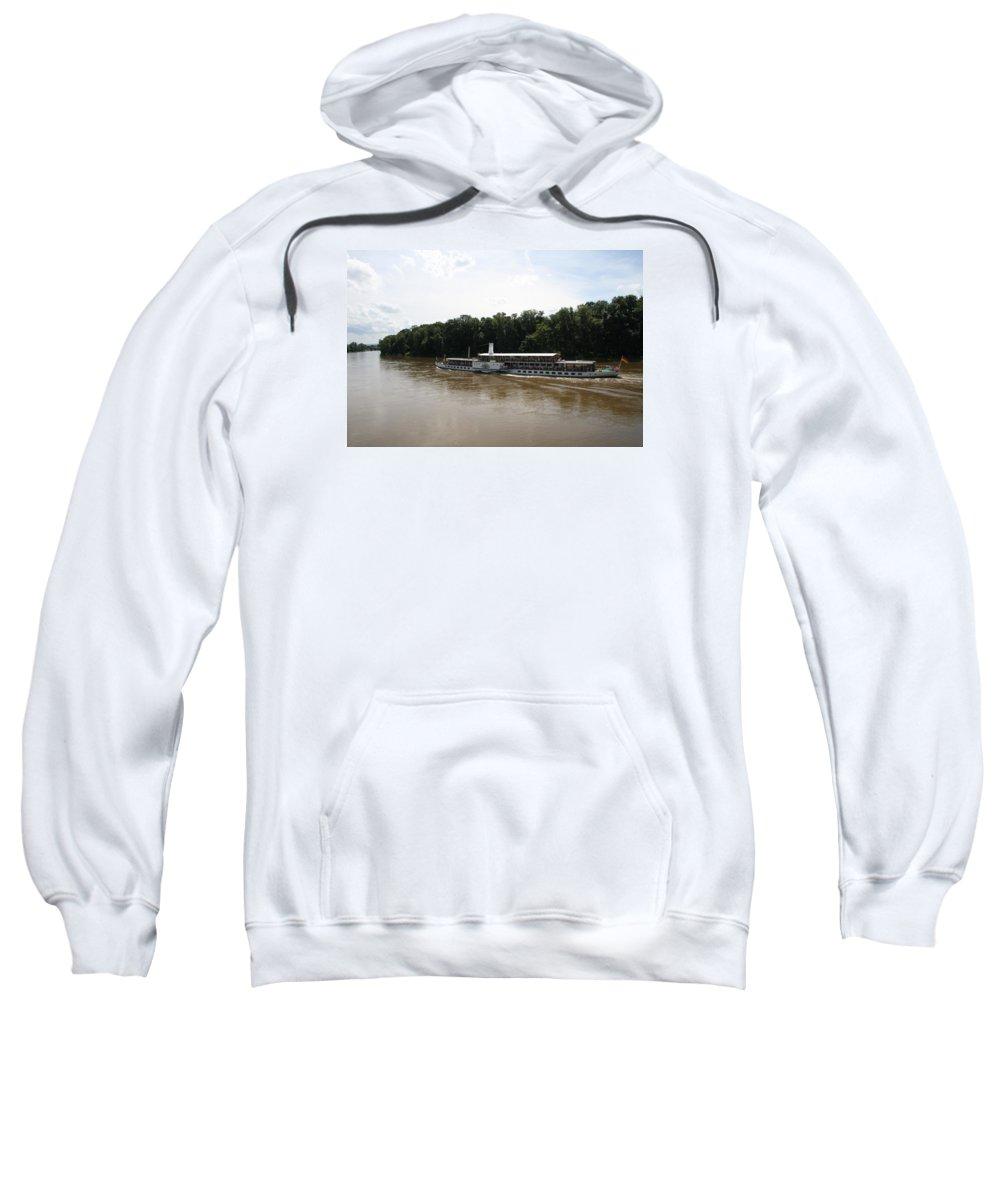 Steamboat Sweatshirt featuring the photograph Steamboat River Elbe Germany by Christiane Schulze Art And Photography