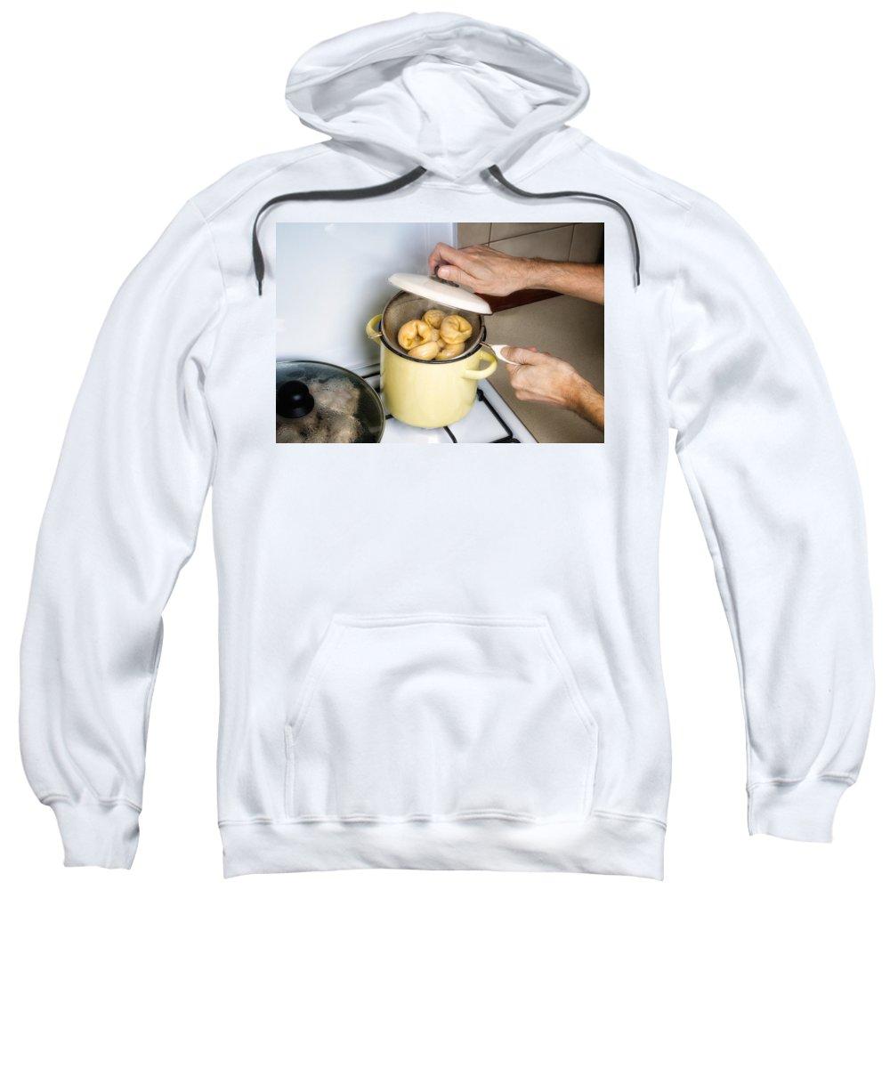 Cuisine Sweatshirt featuring the photograph Steamed Pelmeny by Alain De Maximy