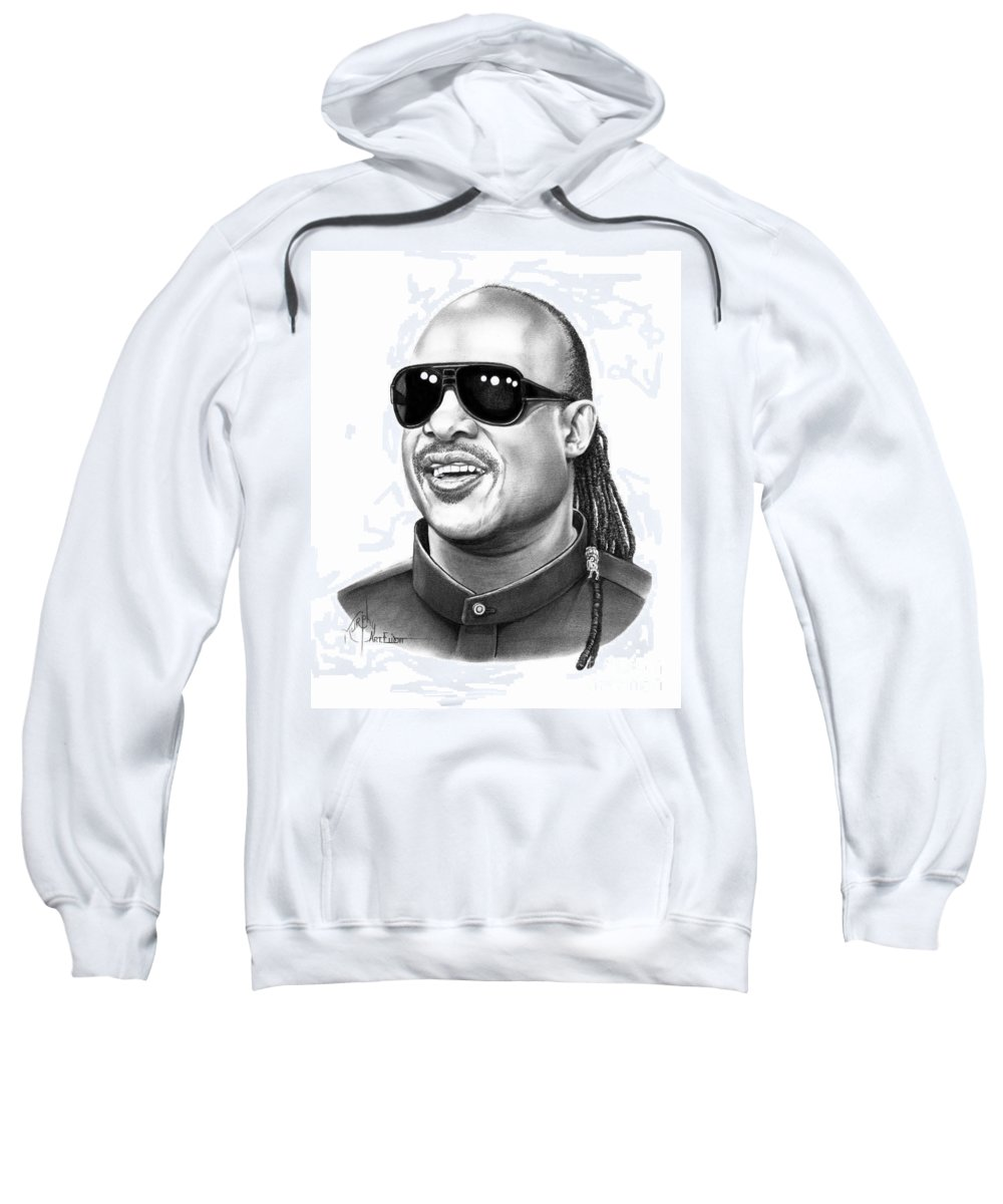 Pencil Sweatshirt featuring the drawing Stevie Wonder by Murphy Elliott