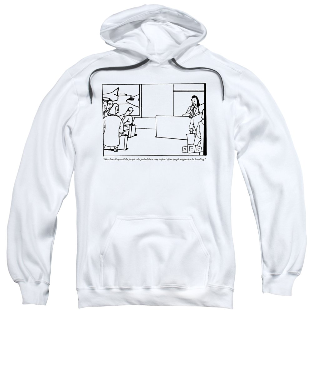Airplane Sweatshirt featuring the drawing Stewardess Giving Directions To People Who by Bruce Eric Kaplan