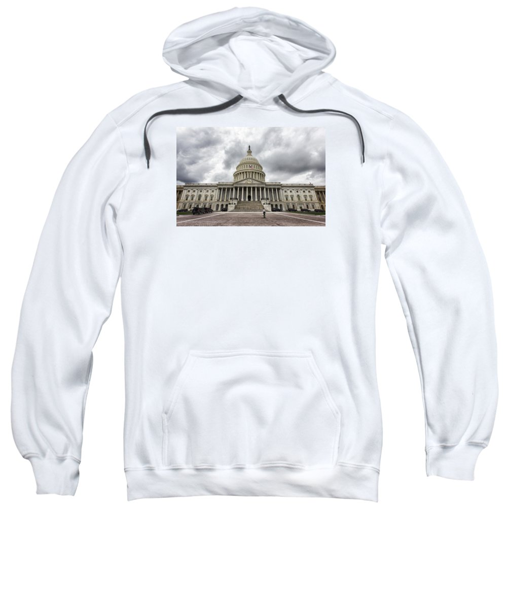 United States Sweatshirt featuring the photograph Stormy Capitol Day II by Tami Stieger