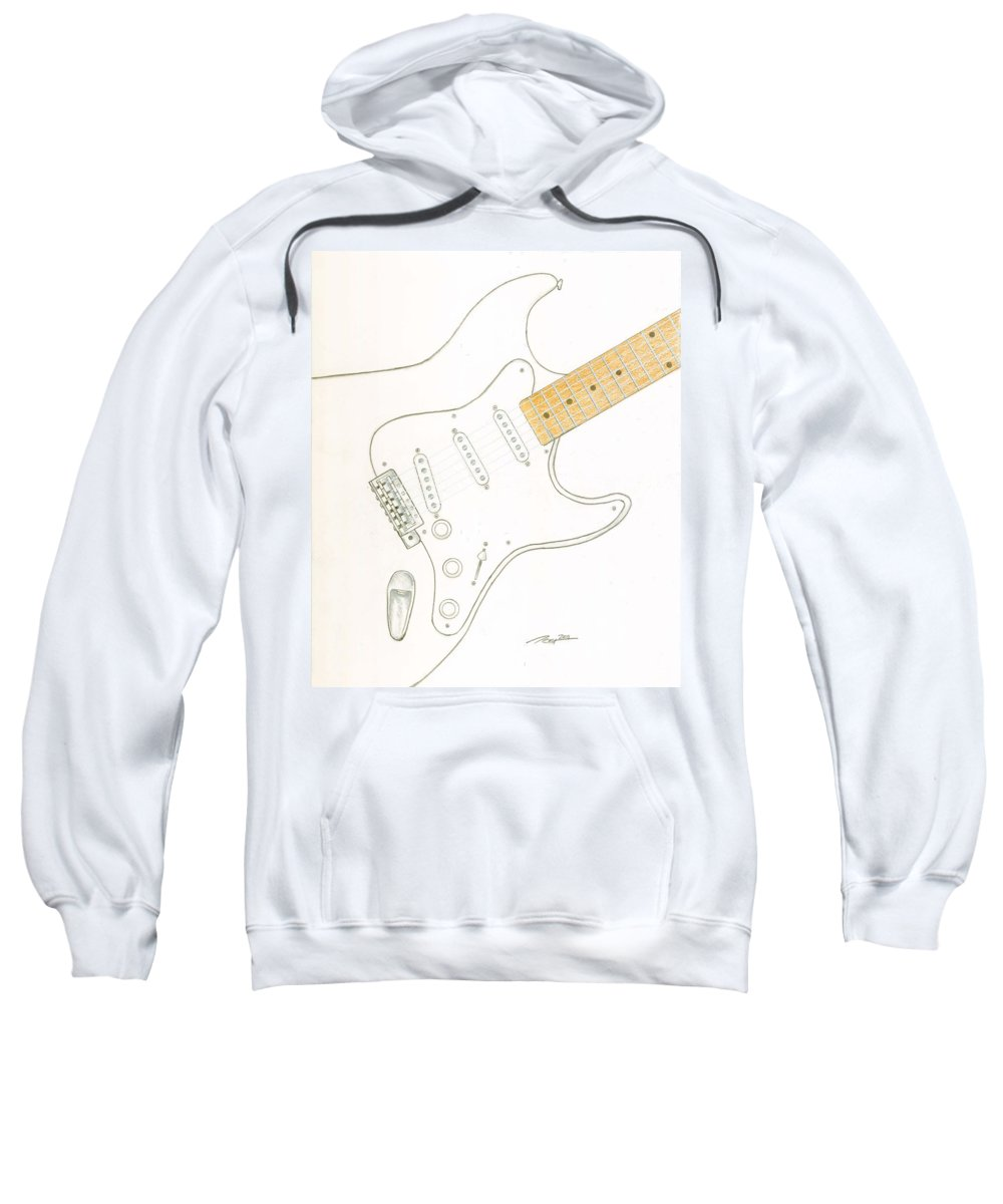 Guitar Sweatshirt featuring the drawing Strat by Rick Yost