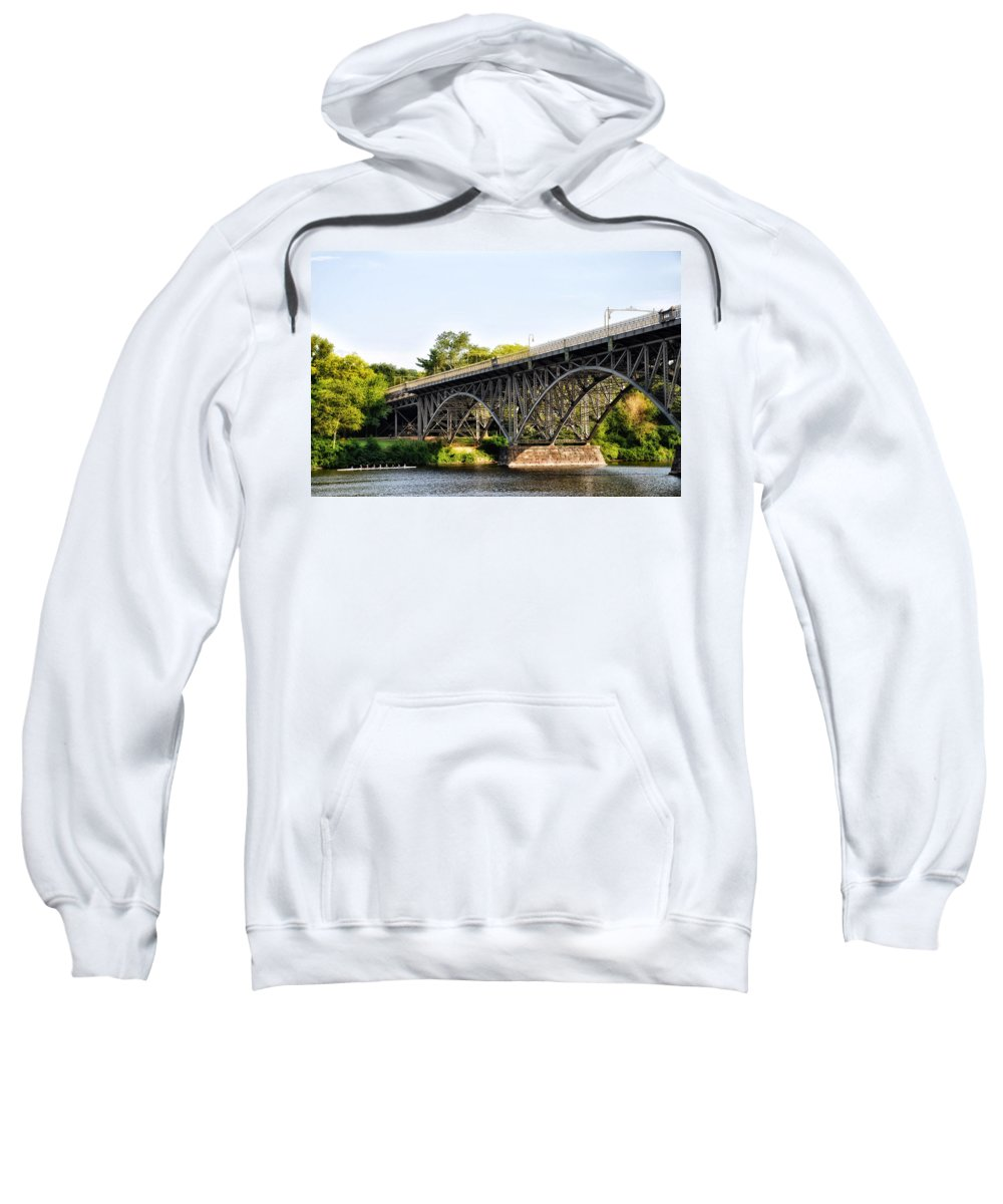 Strawberry Sweatshirt featuring the photograph Strawberry Mansion Bridge And The Schuylkill River by Bill Cannon