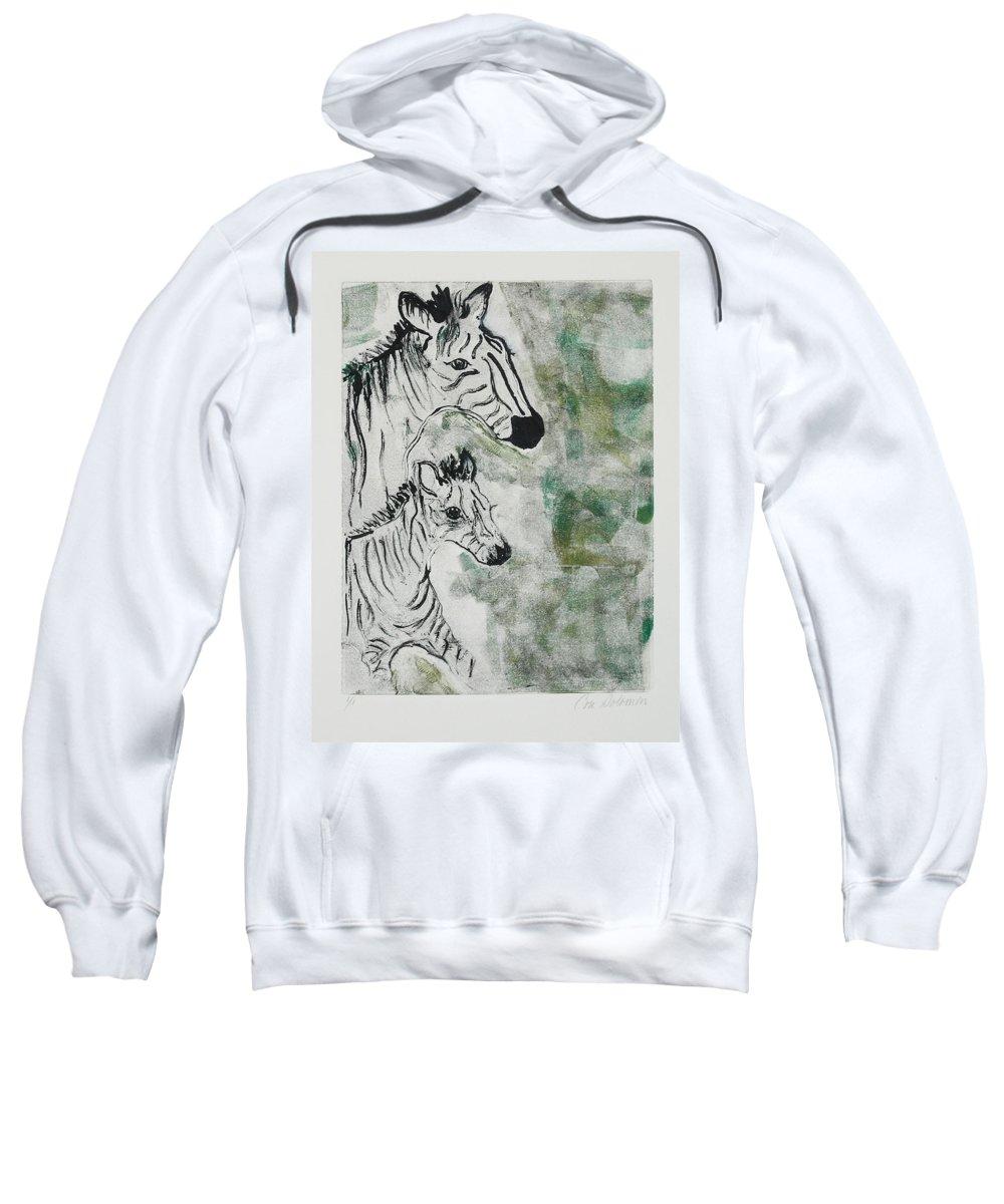 Zebras Sweatshirt featuring the mixed media Striped Duet by Cori Solomon