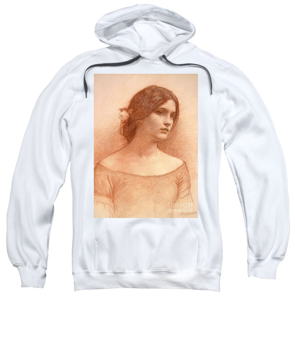 Study For The Lady Clare Sweatshirt featuring the drawing Study For The Lady Clare by John William Waterhouse