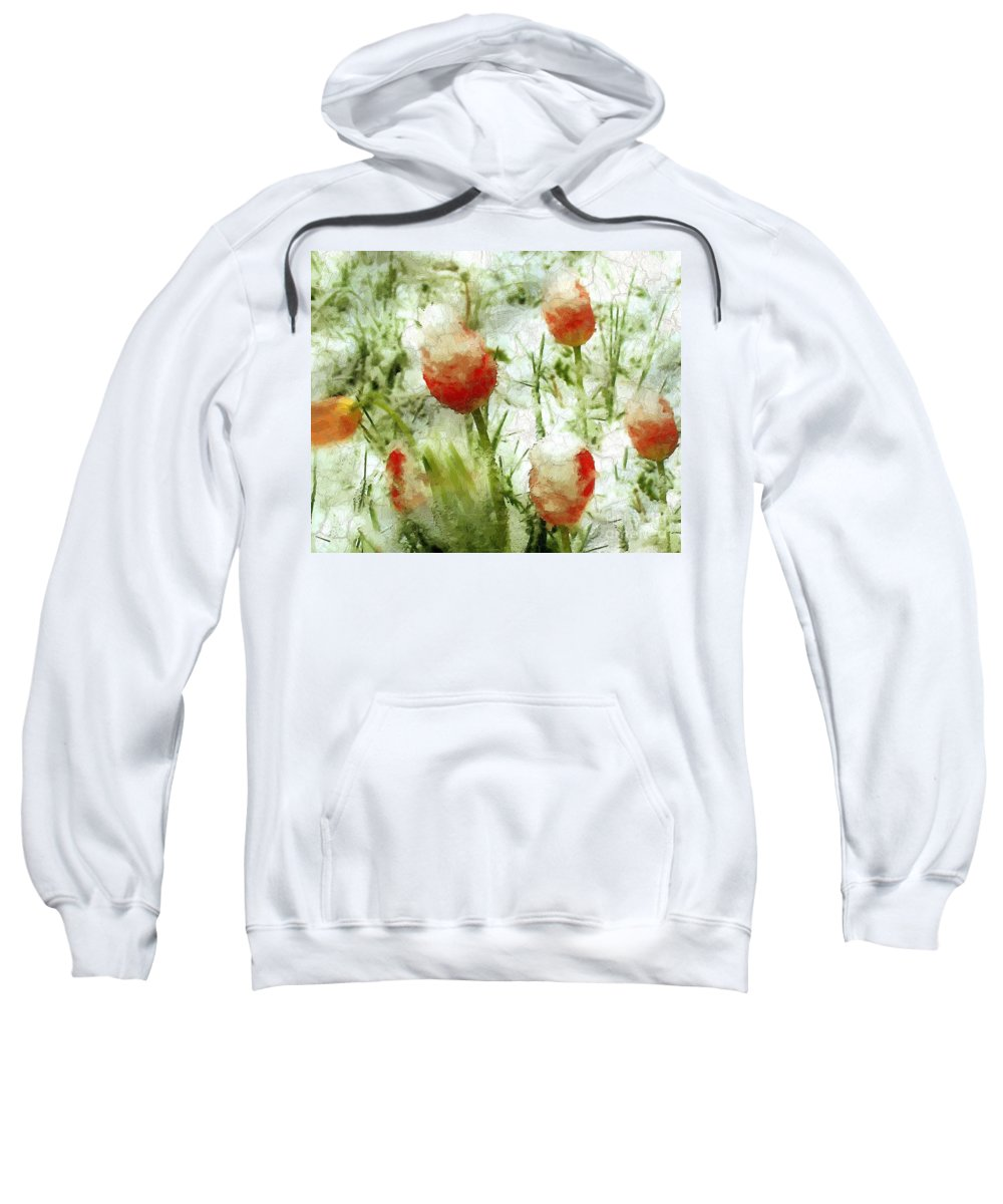 Tulips Sweatshirt featuring the painting Suddenly Snow by RC DeWinter