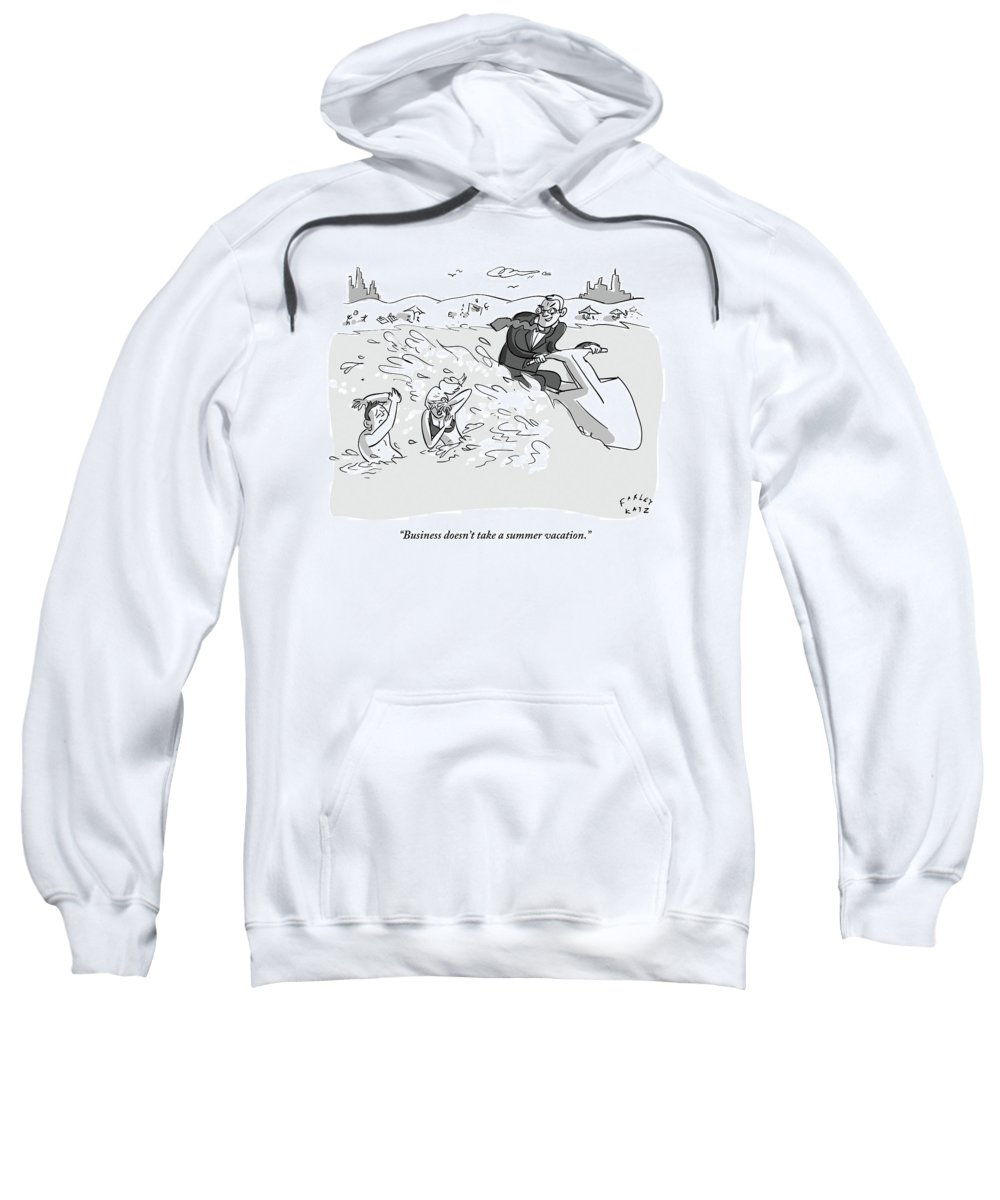 Vacation Sweatshirt featuring the drawing Suited Man Splashes Two Swimmers As He Rides by Farley Katz
