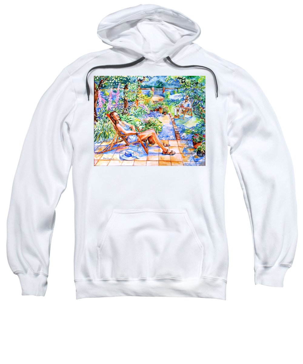 Summer Sweatshirt featuring the painting Summer In An Irish Garden by Trudi Doyle