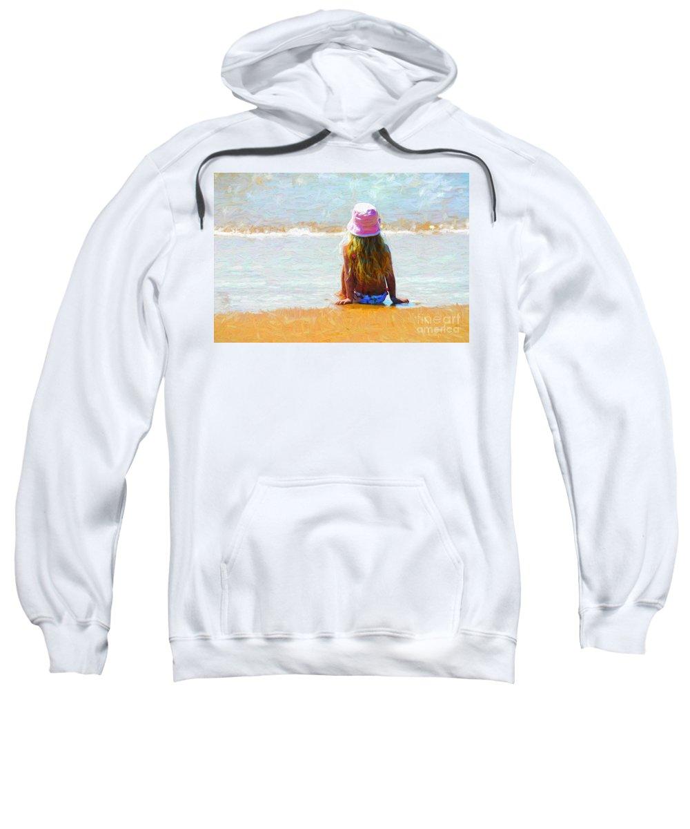 Little Girl On Beach Sweatshirt featuring the photograph Summertime by Sheila Smart Fine Art Photography
