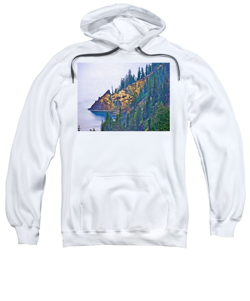 Sun Notch On A Rainy Day At Crater Lake National Park Sweatshirt featuring the photograph Sun Notch On A Rainy Day At Crater Lake National Park-oregon by Ruth Hager