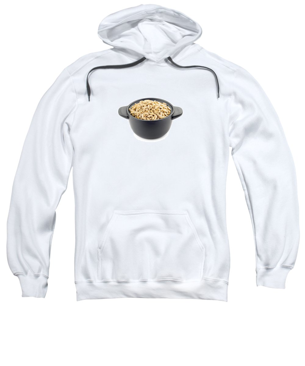 Above Sweatshirt featuring the photograph Sunflower Seeds In A Black Cup by Alain De Maximy