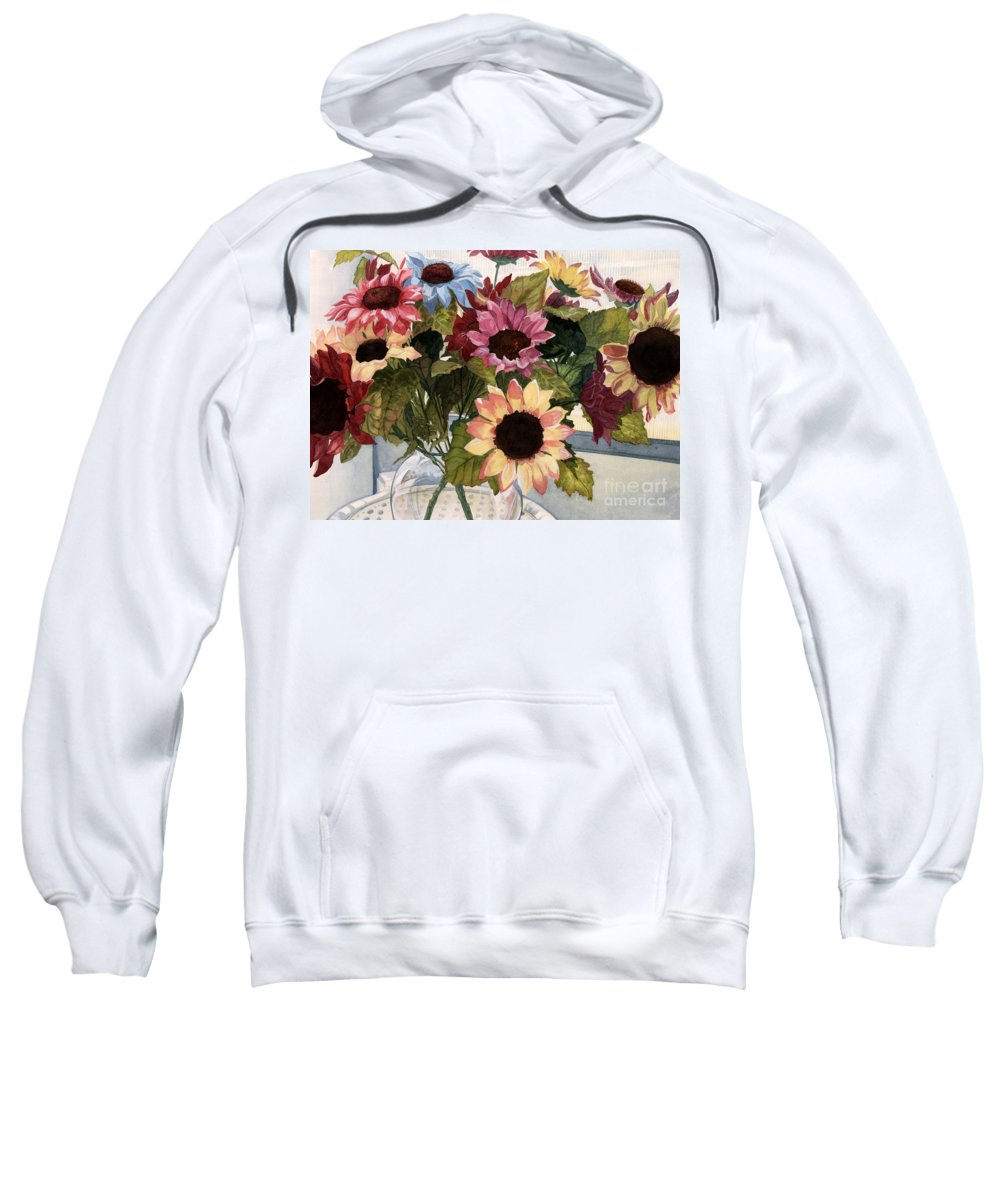 Flowers Sweatshirt featuring the painting Sunflowers by Barbara Jewell