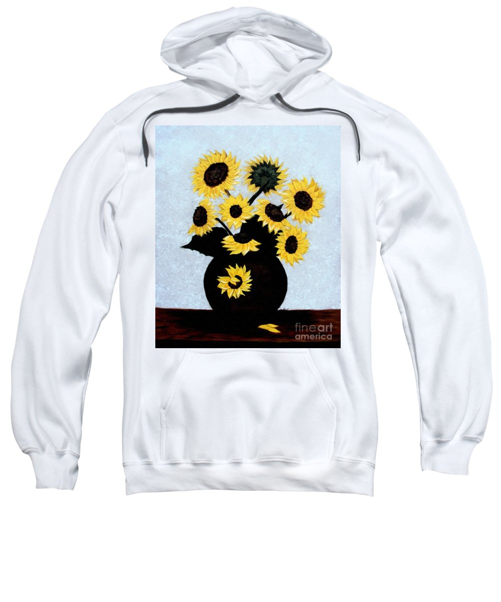 Sunflowers Expressive Brushstrokes Sweatshirt featuring the photograph Sunflowers Expressive Brushstrokes by Barbara Griffin
