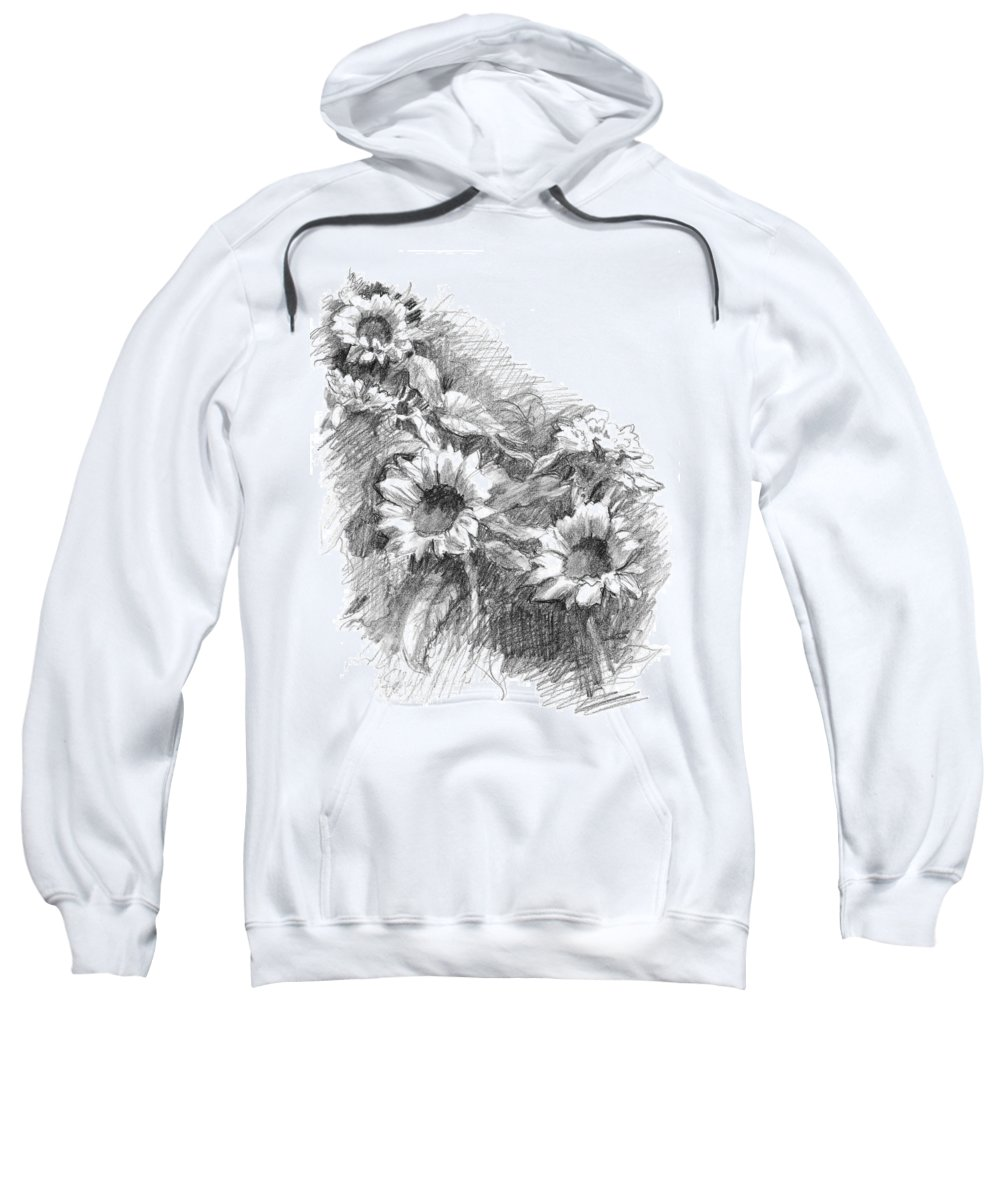Landscape Sweatshirt featuring the drawing Sunflowers by Sarah Parks