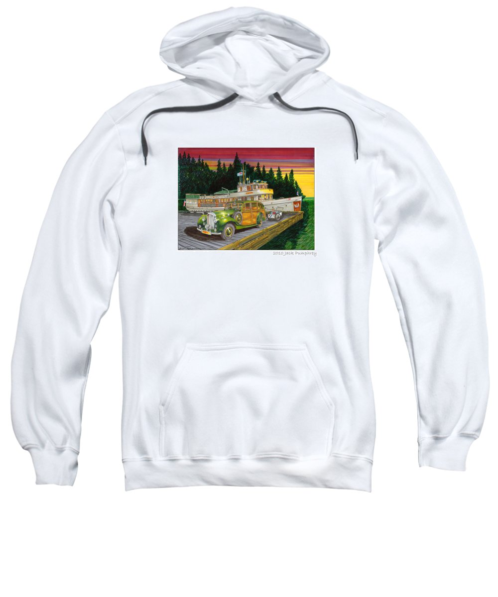 Image Of 1934 Bentley Shooting Brake On The Dock At The Seattle Yacht Club Port Madison Out Station Sweatshirt featuring the painting Port Madison Sunrise by Jack Pumphrey