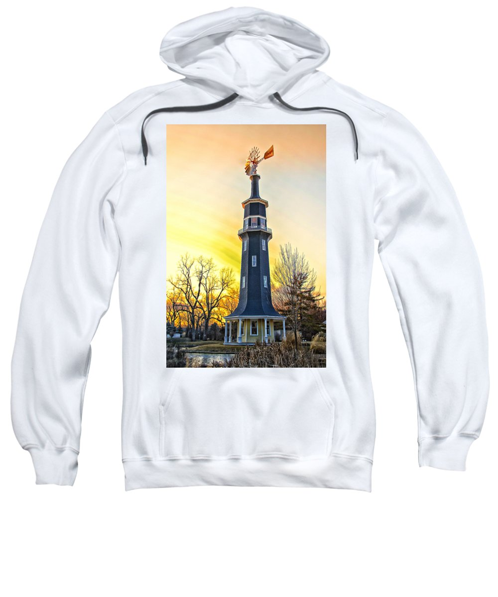Windmill Sweatshirt featuring the photograph Sunset On The Dwight Windmill by Thomas Woolworth