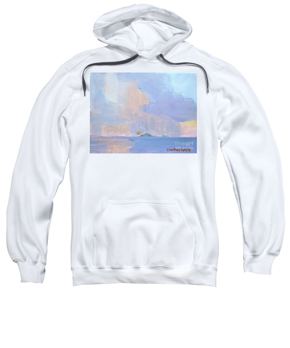 Sunset With Rain Sweatshirt featuring the painting Sunset With Rain by Candace Lovely