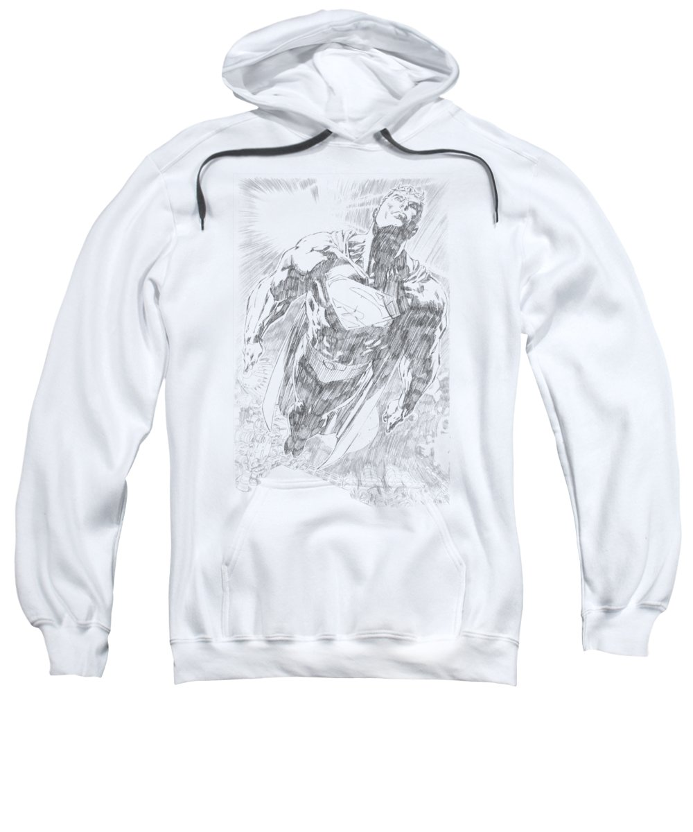 Superman Sweatshirt featuring the digital art Superman - Exploding Space Sketch by Brand A