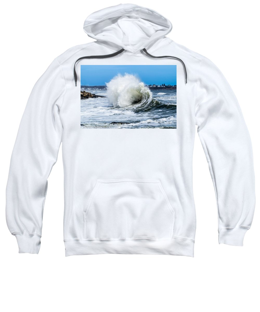 Landscapes Sweatshirt featuring the photograph Surf Is Up At York Beach by Nate Wilson