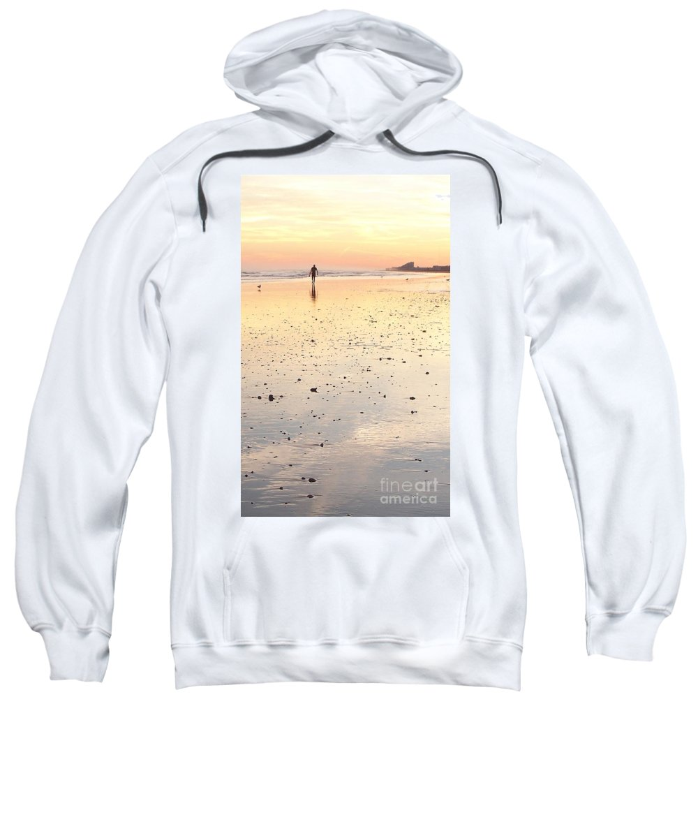 Surfing Sweatshirt featuring the photograph Surfing Sunset by Eric Schiabor