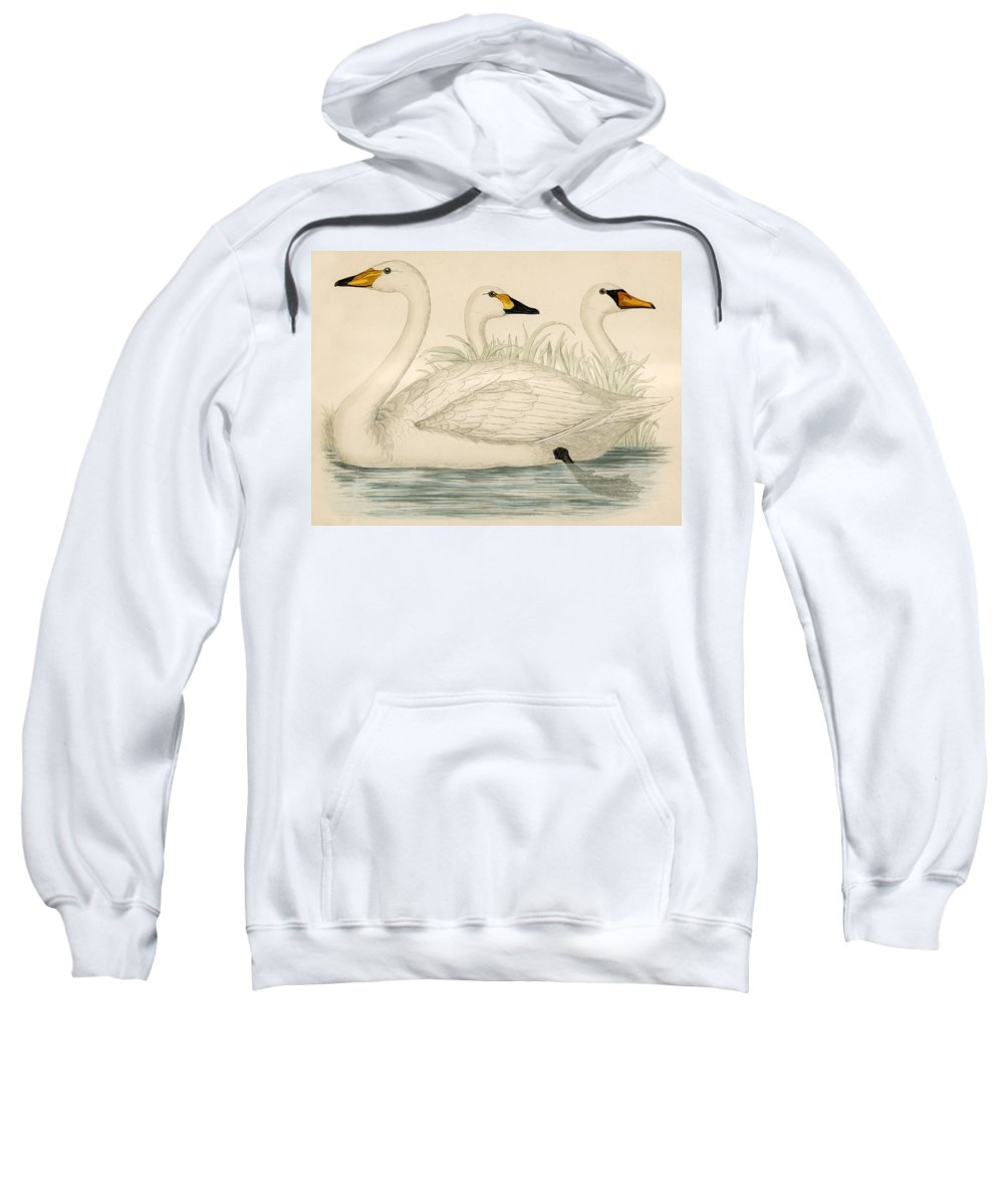Swans Sweatshirt featuring the painting Swans by Beverley R Morris