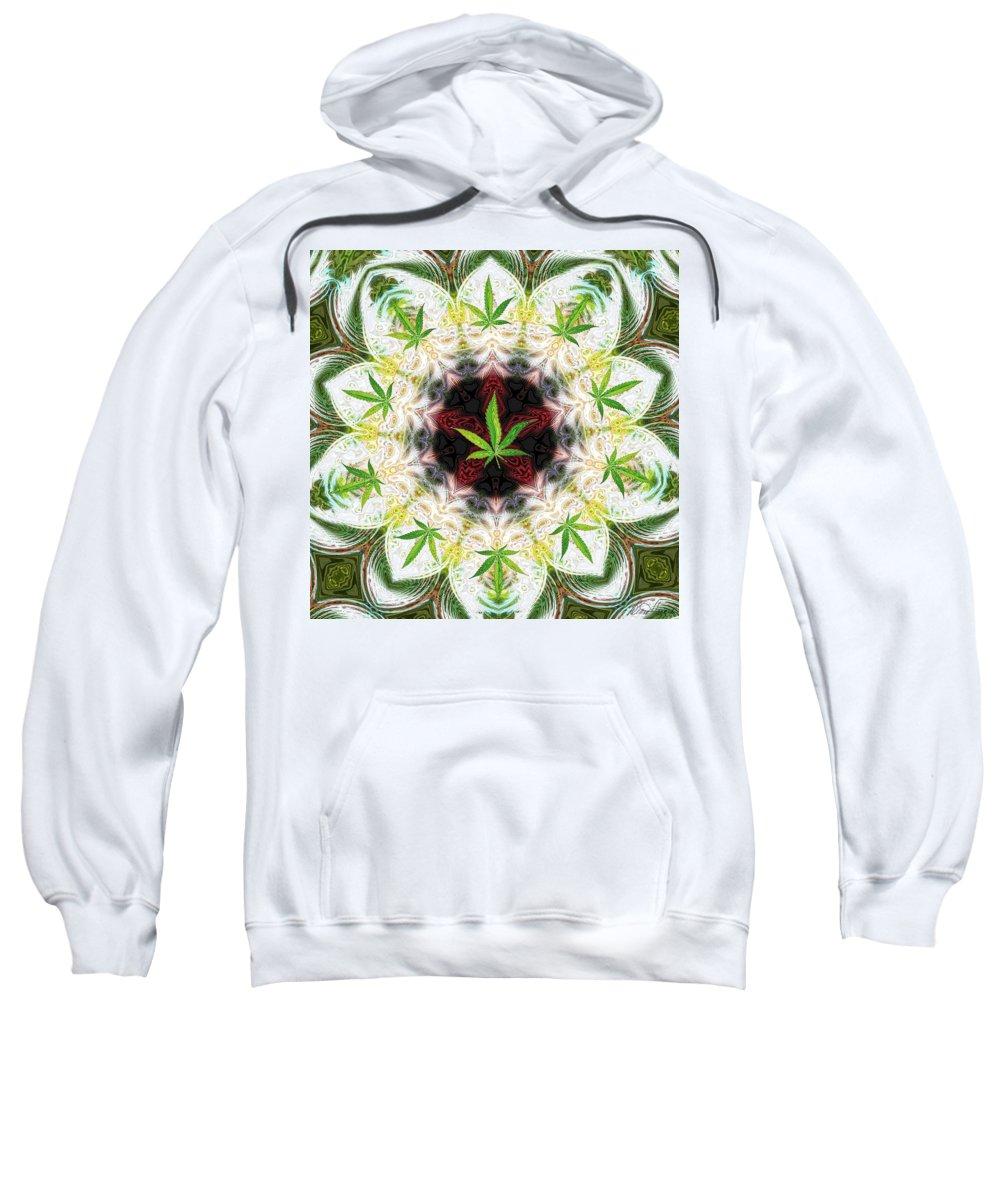 Mandala Sweatshirt featuring the digital art Sweetleaf Mandala by Diana Haronis