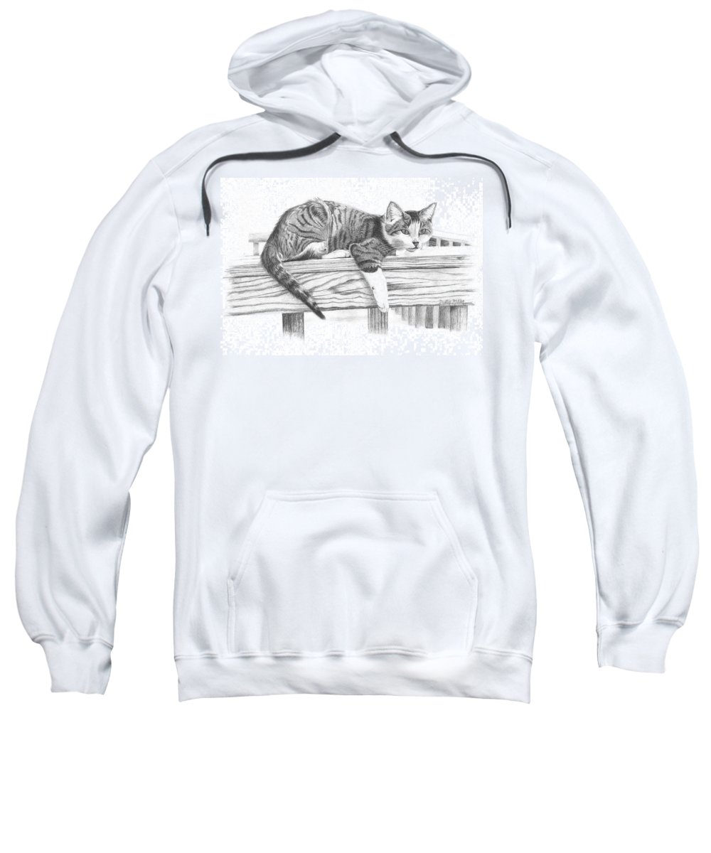 Cat Sweatshirt featuring the drawing Tabby Cat by Dustin Miller