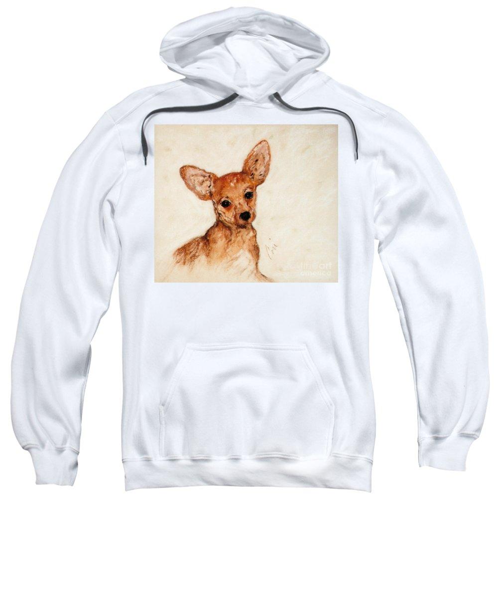 Chihuahua Sweatshirt featuring the drawing Tavi by Cori Solomon