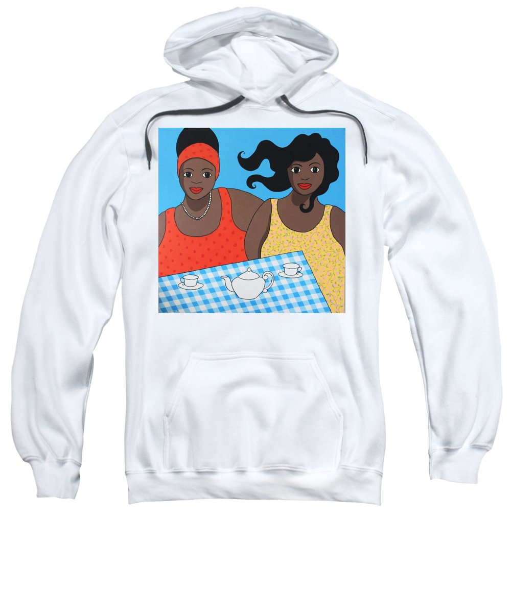Women Sweatshirt featuring the painting Tea For Two by Trudie Canwood