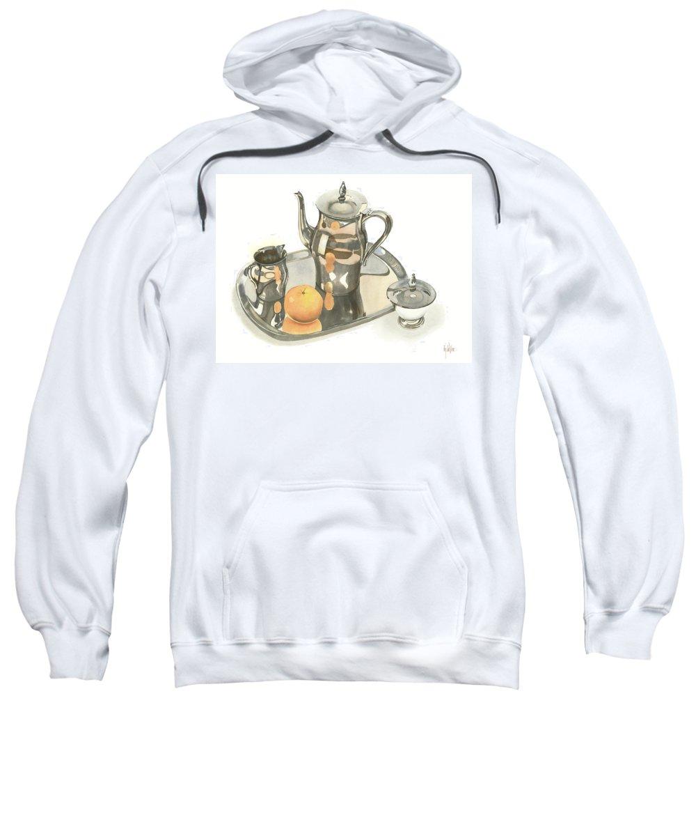Tea Service With Orange Sweatshirt featuring the painting Tea Service With Orange by Kip DeVore