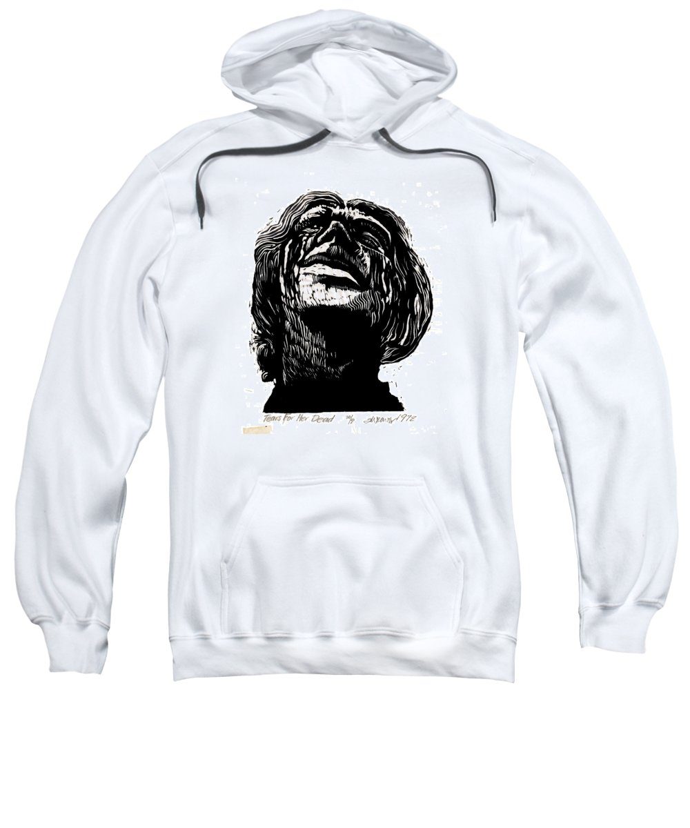 Tears Sweatshirt featuring the mixed media Tears For Her Dead by Seth Weaver