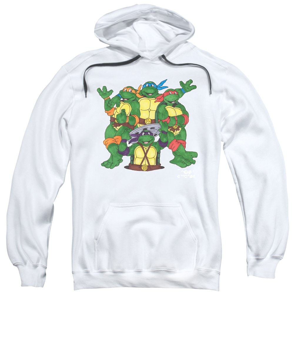 Fanart Sweatshirt featuring the painting Teenage Mutant Ninja Turtles by Yael Rosen