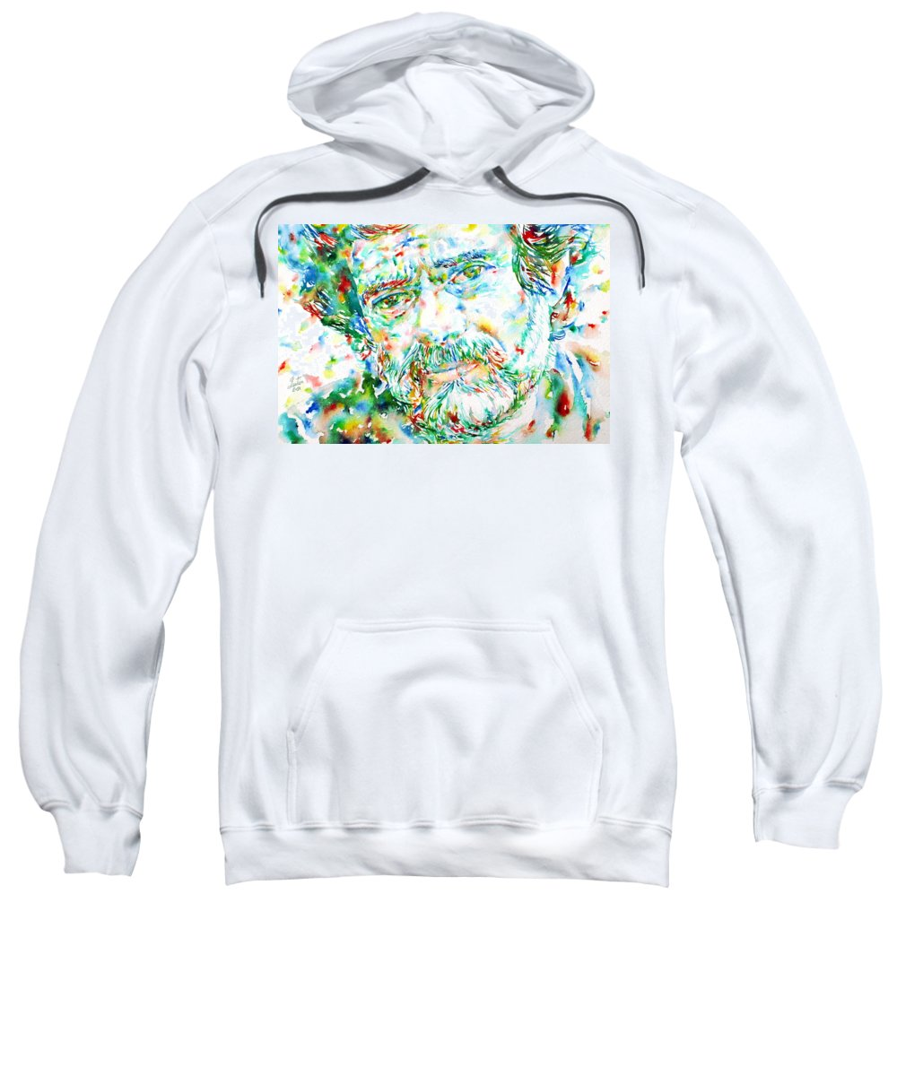 Terence Mckenna Sweatshirt featuring the painting Terence Mckenna - Watercolor Portrait by Fabrizio Cassetta