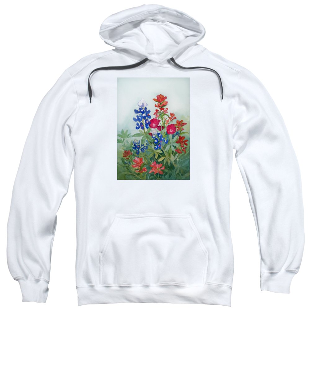 Bluebonnets Sweatshirt featuring the painting Texas Wildflowers by Sue Kemp