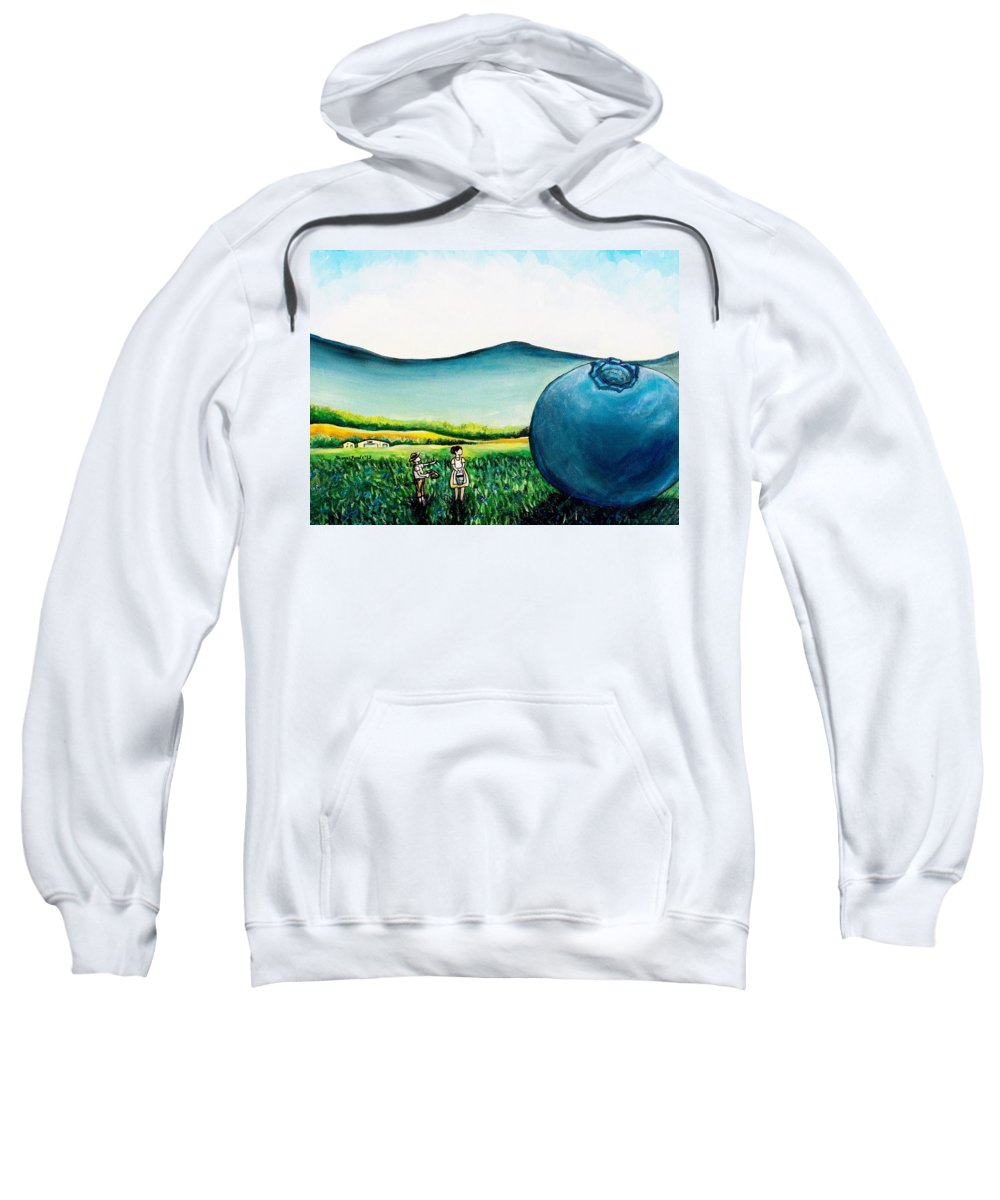 Blueberry Sweatshirt featuring the painting That's Gonna Make A Lot Of Pies by Shana Rowe Jackson
