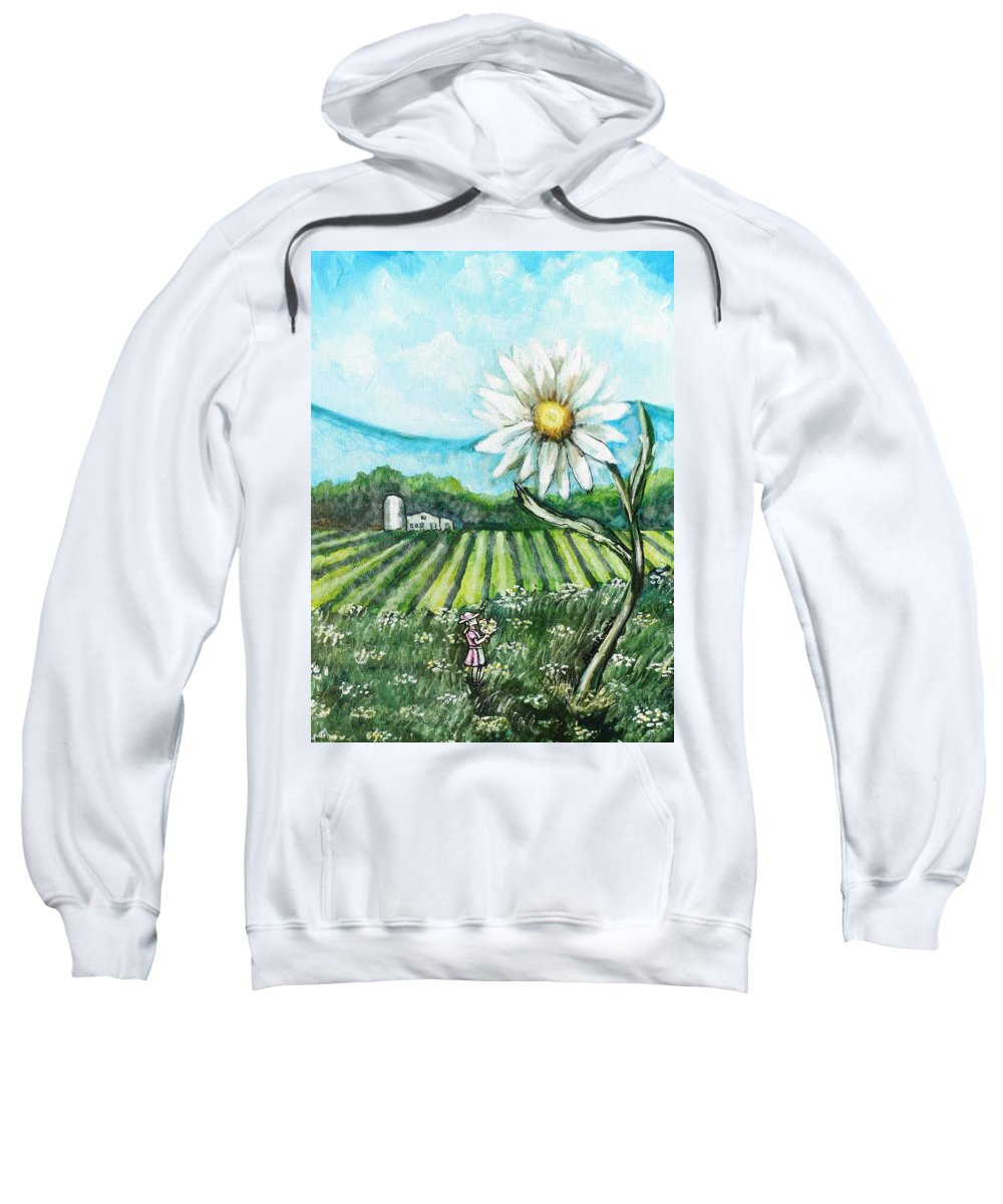 Daisy Sweatshirt featuring the painting Thats Not Gonna Fit In Mamas Vase by Shana Rowe Jackson