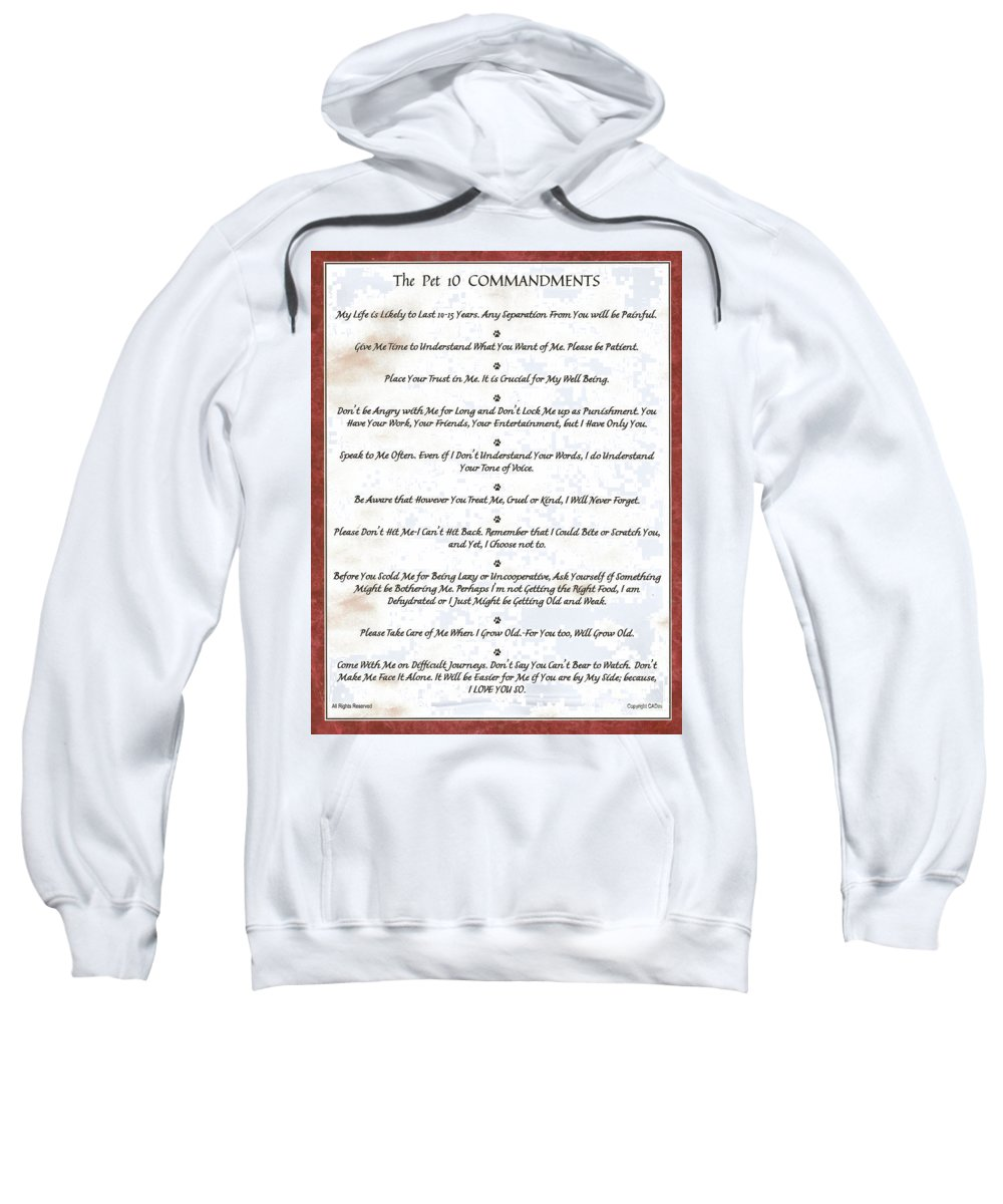 Pet Sweatshirt featuring the mixed media The 10 Commandments For Pets On Red Marble by Desiderata Gallery