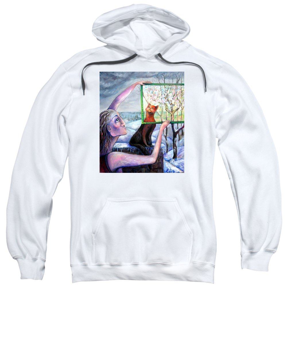 Hope Sweatshirt featuring the painting The Angel Of February by Elisheva Nesis