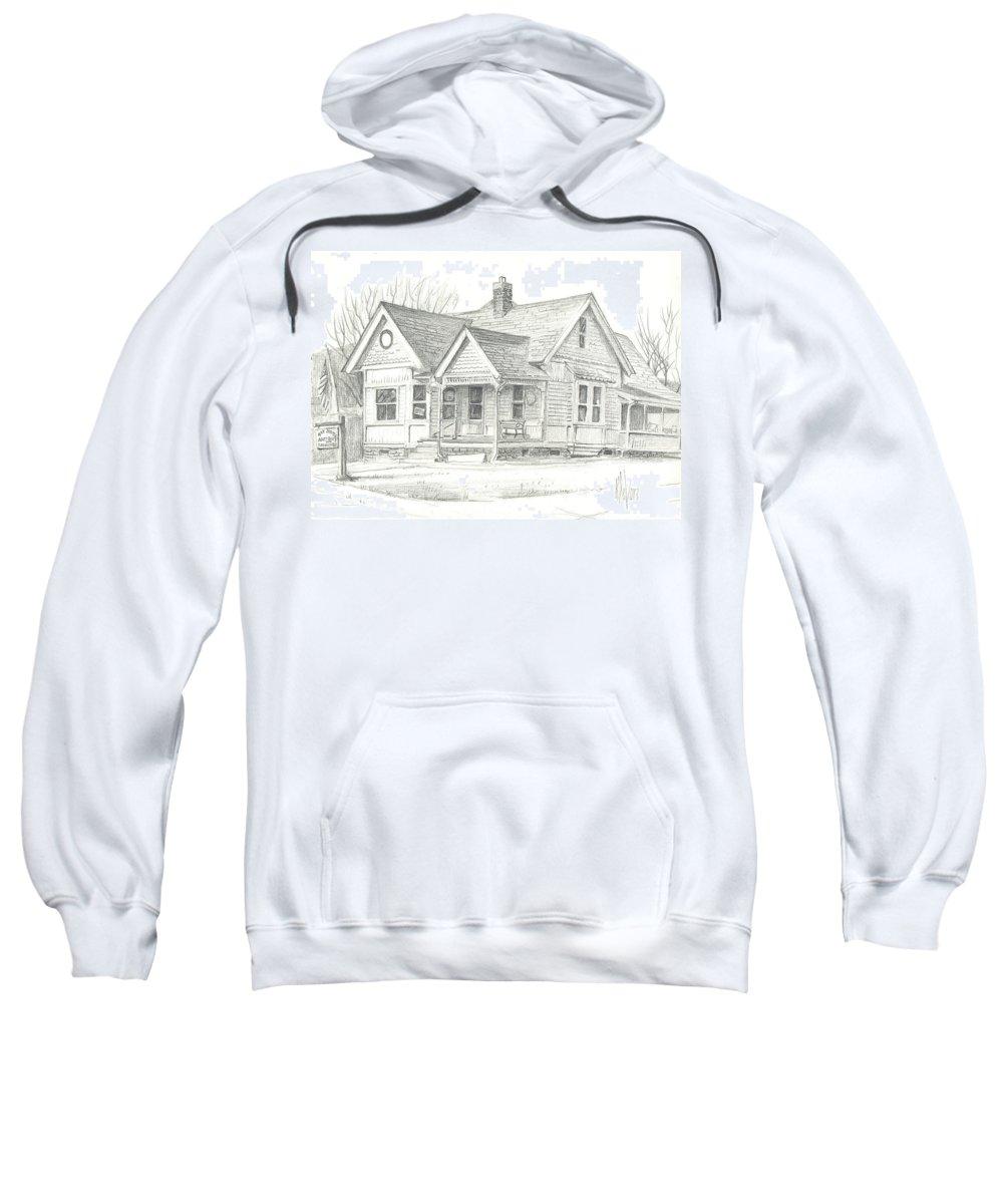 The Antique Shop Sweatshirt featuring the drawing The Antique Shop by Kip DeVore