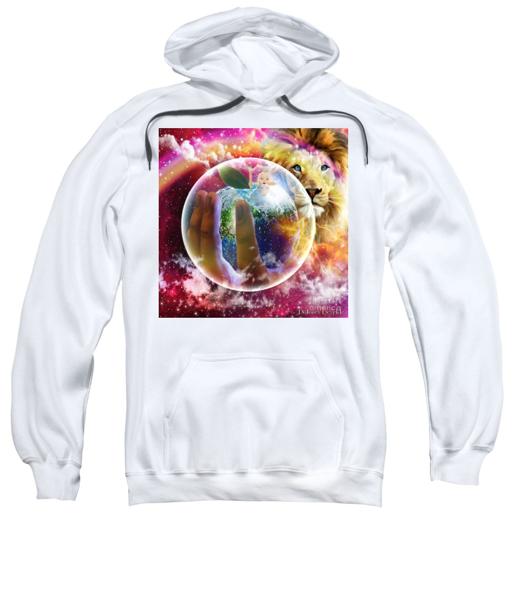 Gods Perfect Love Apple Baby Dove Rainbow Sweatshirt featuring the digital art The Apple Of His Eye by Dolores Develde