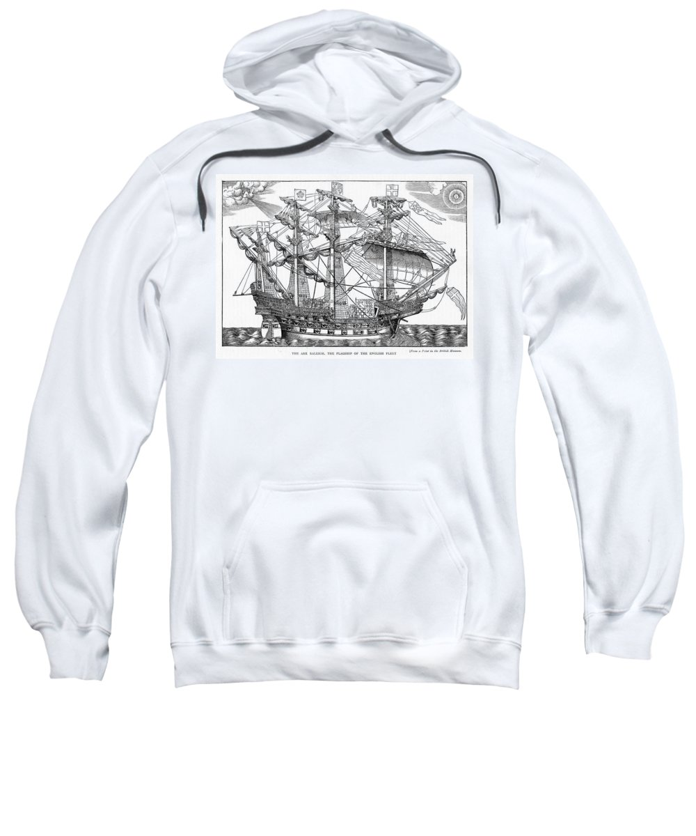 Ship Sweatshirt featuring the drawing The Ark Raleigh The Flagship Of The English Fleet From Leisure Hour by English School