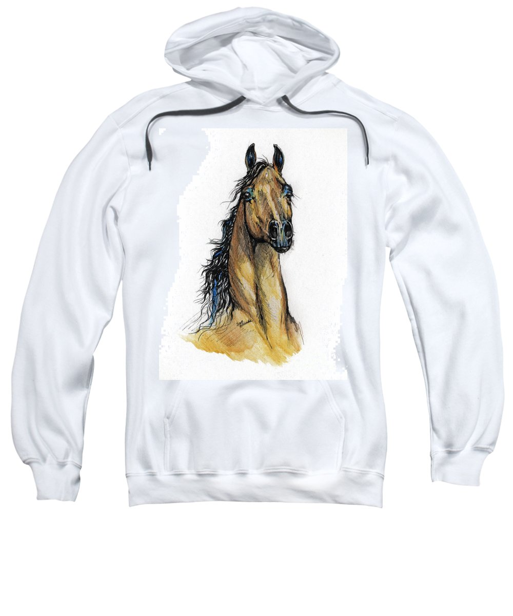 Arab Sweatshirt featuring the painting The Bay Arabian Horse 13 by Angel Ciesniarska