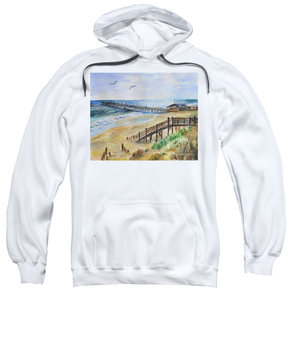 Outer Banks Sweatshirt featuring the painting Nags Head Fishing Pier by Valentina Copeland